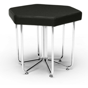 "OFM Hexagon Stool - Vinyl - 22-3/4"" x 20"" - Midnight - Hex Series"