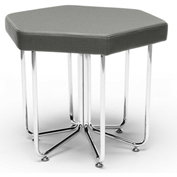 OFM Hex Series Vinyl Stool with Chrome Frame Slate