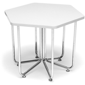"OFM Hexagon Stool - Laminate - 22-3/4"" x 20"" - White - Hex Series"