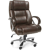 OFM Big and Tall Office Chair with Arms - Leather - High Back - Brown - Avenger Series
