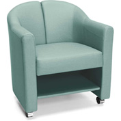 OFM Mobile Club Chair with Storage Aqua Vinyl