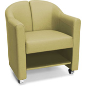 OFM Mobile Club Chair with Storage Leaf Green Vinyl