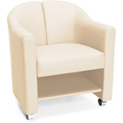 OFM Mobile Club Chair with Storage Linen Vinyl