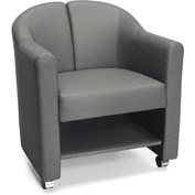 OFM Mobile Club Chair with Storage Brown Slate Vinyl