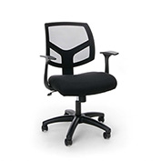 OFM Mesh Task Chair with Arms and Swivel - Fabric - Mid Back - Black - Essential Series