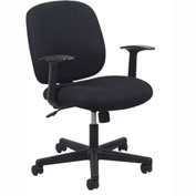 OFM Task Chair with Arms and Swivel - Fabric - Mid Back - Black - Essential Series