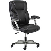 OFM Executive Office Chair with Arms - Leather - High Back - Black - Essential Series