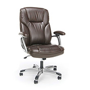 OFM Executive Office Chair with Arms - Leather - High Back - Brown - Essential Series