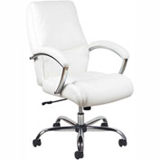 "OFM Essentials High-Back 17 to 19-7/8"" Height Adjustable Leather Task Chair with Tilt Control White"