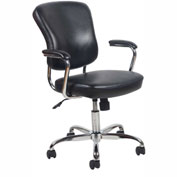 "OFM Essentials Mid-Back Chrome Frame 17-1/2"" to 21-1/4"" Height Adjustable Leather Chair Black"