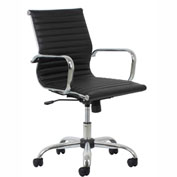OFM Essentials Leather Computer Chair - Mid-Back - Height Adjustable - Chrome Frame - Black