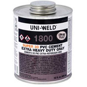 Oatey 1824 1800 Series Super 30Extra Heavy Body Gray PVC Cement - Wide Mouth Can 1 Gallon - Pkg Qty 6