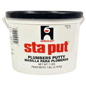 Hercules 25110 Sta Put Plumber's Putty - Plastic Pail With Handle 7 lb - Pkg Qty 6