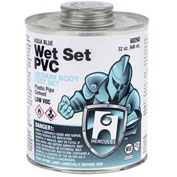 Hercules 60253 Wet Set PVC - Aqua Blue, Medium Body, Fast Set Cement - Dauber In Cap 8 oz. - Pkg Qty 12