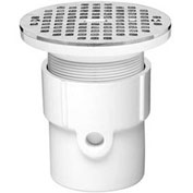 "Oatey 72029 4"" PVC Hub Base General Purpose Drain with 5"" Brass Grate"
