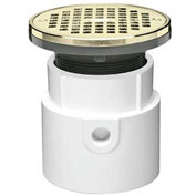 """Oatey 72037 3"""" or 4"""" PVC Adjustable General Purpose Drain with 5"""" Brass Grate & Round Ring"""