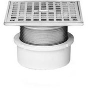 "Oatey 72232 2"" PVC Adjustable Commercial Drain 5"" Cast Nickel Square Grate and Square Top"
