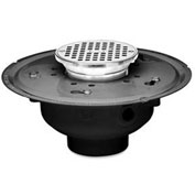 "Oatey 72314 4"" PVC Adjustable Commercial Drain with 5"" Cast Nickel Grate & Round Top"