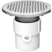 """Oatey 72378 4"""" PVC Adjustable General Purpose Pipe Fit Drain with 10"""" Cast Nickel Grate & Round Top"""