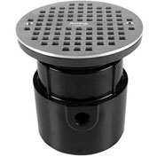 """Oatey 82158 4"""" ABS Pipe Base Adjustable General Purpose Drain with 6"""" Nickel Grate"""