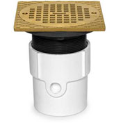 """Oatey 82177 3"""" or 4"""" ABS Adjustable General Purpose Drain with 6"""" Nickel Grate & Square Ring"""