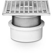 """Oatey 82258 4"""" ABS Adjustable General Purpose Pipe Fit Drain with 6"""" Cast Nickel Grate & Square Top"""