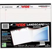 "Roaring Spring® Landscape Format Writing Pad 95510, 11"" x 9-1/2"", White, 75 Sheets/Pad, 1/Pack"