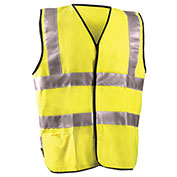 Dual Stripe Flame Resistant Vest With Hook & Loop Class 2 Hi-Vis Yellow 4XL
