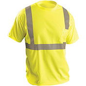 Classic Standard Wicking Birdseye T-Shirt W/ Pocket, Hi-Vis Yellow, 2XL