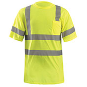 Classic Standard Wicking T-Shirt W/ Sleeve Stripes, ANSI, Hi-Vis Yellow, L