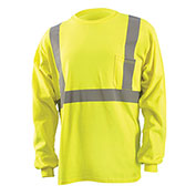 Classic Standard Wicking T-Shirt W/ Sleeve Stripes, ANSI, Hi-Vis Yellow, XL