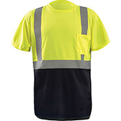 OccuNomix Class 2 Classic Black Bottom T-Shirt with Pocket, Yellow, S