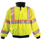 Premium Two-Tone Bomber Jacket, Hi-Vis Yellow, L