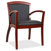 Lorell® Arched Arms Wood Guest Chair - Black/Cherry