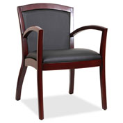Lorell® Arched Arms Wood Guest Chair - Black/Mahogany