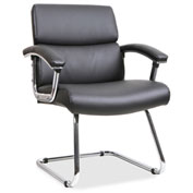 Lorell® Sled Base Leather Guest Chair - Black