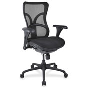 Lorell® High-Back Fabric Seat Chair - Mesh Back - Black