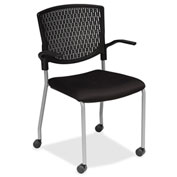 Lorell® Plastic Back Guest Chair - Black - 2/Pack