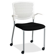 Lorell® Plastic Back Guest Chair - Black with White Back - 2/Pack