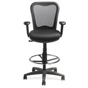 Lorell® Mesh-Back Drafting Stool - Black