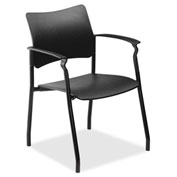 Lorell® Stack Chair with Arms - Black