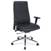 Lorell® Leather Suspension Chair - Black