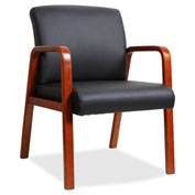 Lorell® Black Leather Wood Frame Guest Chair - Black with Cherry Frame