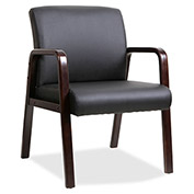 Lorell® Black Leather Wood Frame Guest Chair - Black with Espresso Frame