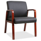 Lorell® Black Leather Wood Frame Guest Chair - Black with Mahogany Frame