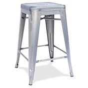 Lorell® Silver Metal Stool - Silver - 4/Pack