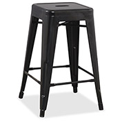 "Lorell® 24"" Metal Stool - Black - 4/Pack"