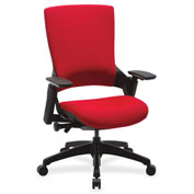 Lorell® Executive Multifunction High-Back Fabric Chair - Red