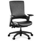 Lorell® Executive Multifunction High-Back Leather Chair - Black