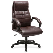 Lorell® Deluxe High-Back Leather Chair - Brown